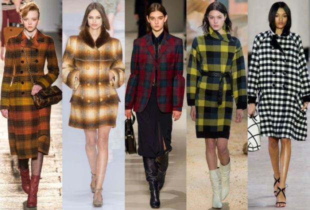 модные принты осень зима: пальто в клетку цветные