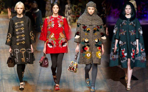 модные принты осень зима 2019-2020: пальто с нашивками в цветы птицы