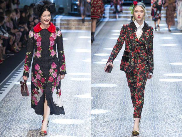 модные принты осень зима: цветочный пальто длинное костюм брючный