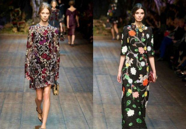 модные принты осень зима: цветочный платье короткое в пол