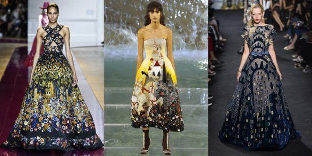 модные принты осень зима: цветочный платья длинные пышные
