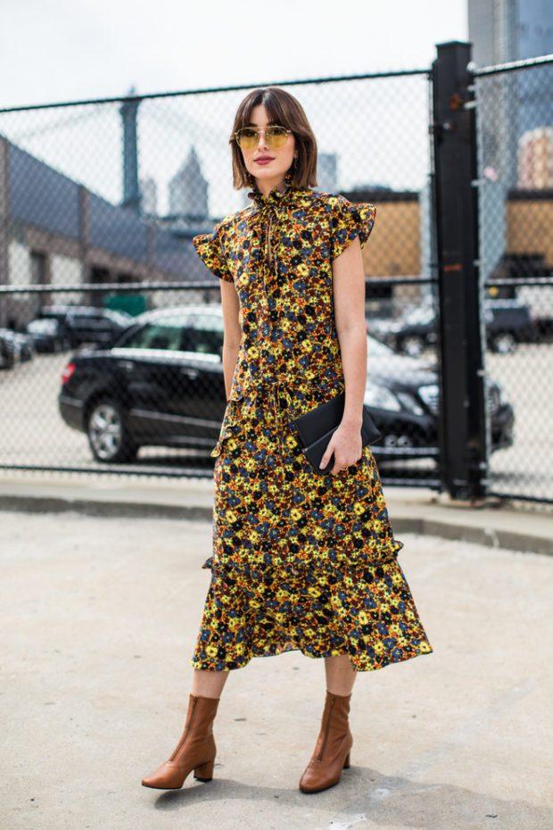 модные принты осень зима: цветочный платье в пол рук короткий