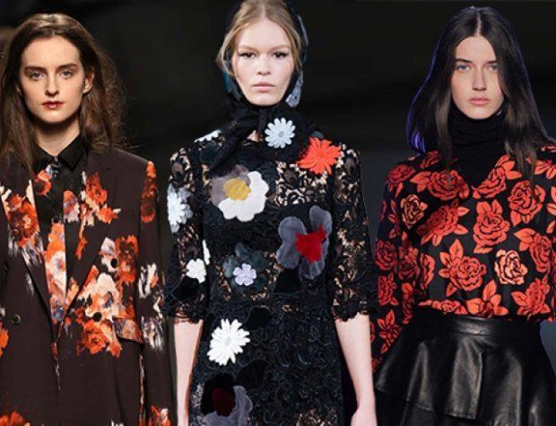модные принты осень зима: цветочный пальто блузка