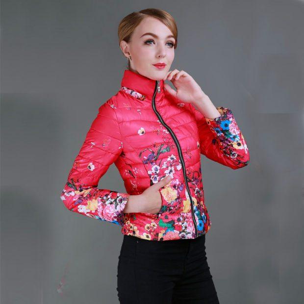 модные принты осень зима: цветочный куртка короткая розовая в цветы