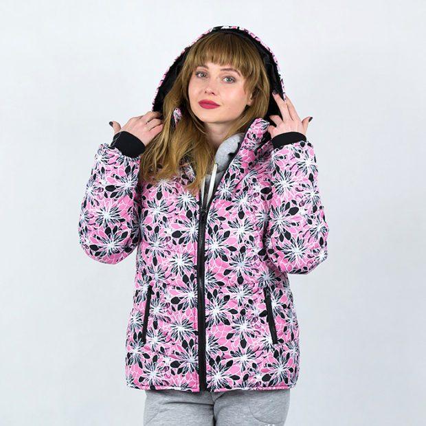 модные принты осень зима: цветочный куртка с капюшоном