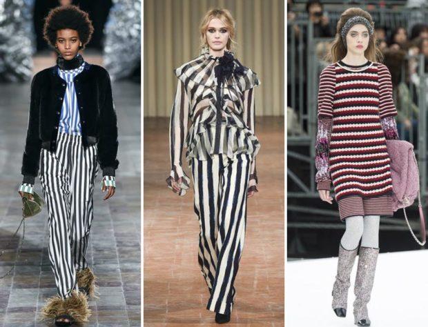 модные принты осень зима: в полоску брюки костюм платье короткое