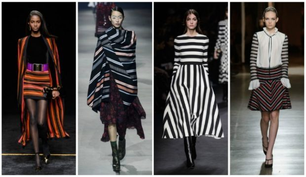 модные принты осень зима: в полоску юбка пончо платье кофточка