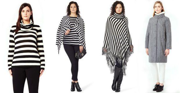 модные принты осень зима: в полоску кофта пончо пальто