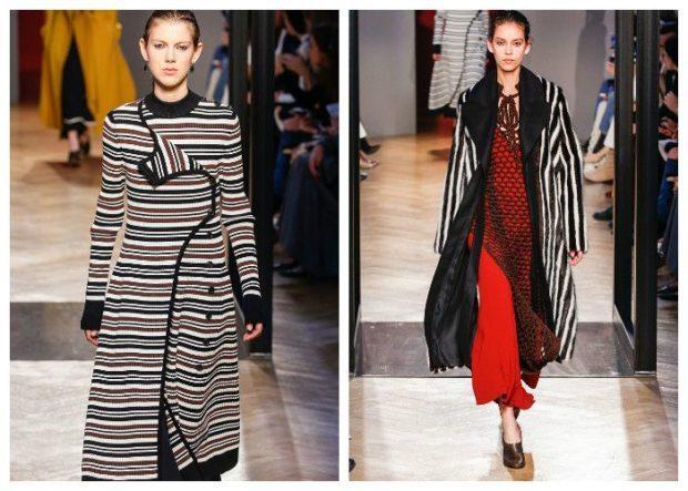 модные принты осень зима: в полоску пальто длинное