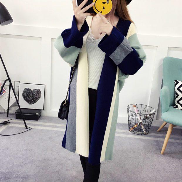 модные принты осень зима: в полоску пальто оверсайз