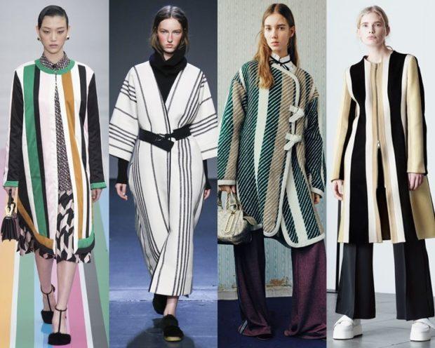 модные принты осень зима: в полоску пальто по коленку оверсайз