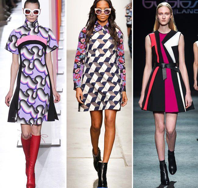 принт геометрия платья миди яркие