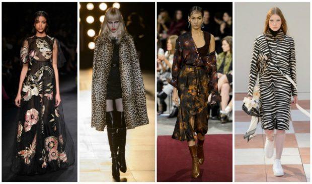 модные принты осень зима 2019-2020: цветы леопардовый зебра