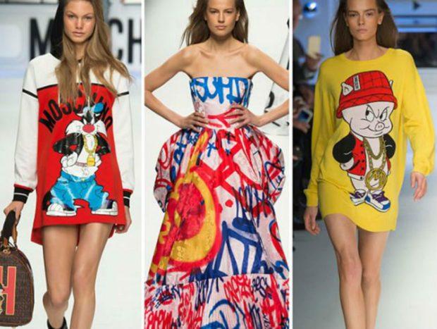 яркие рисунки на платьях мультяшки