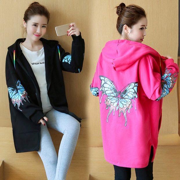 пальто черное розовое с бабочкой