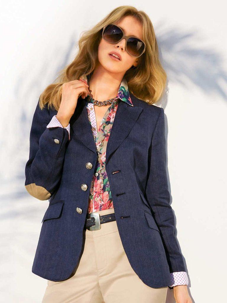 женские пиджаки: оверсайз синий
