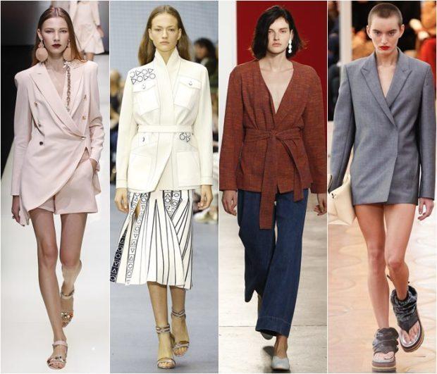 женские пиджаки 2018-2019: светлый белый коричневый под пояс серый на пуговичке