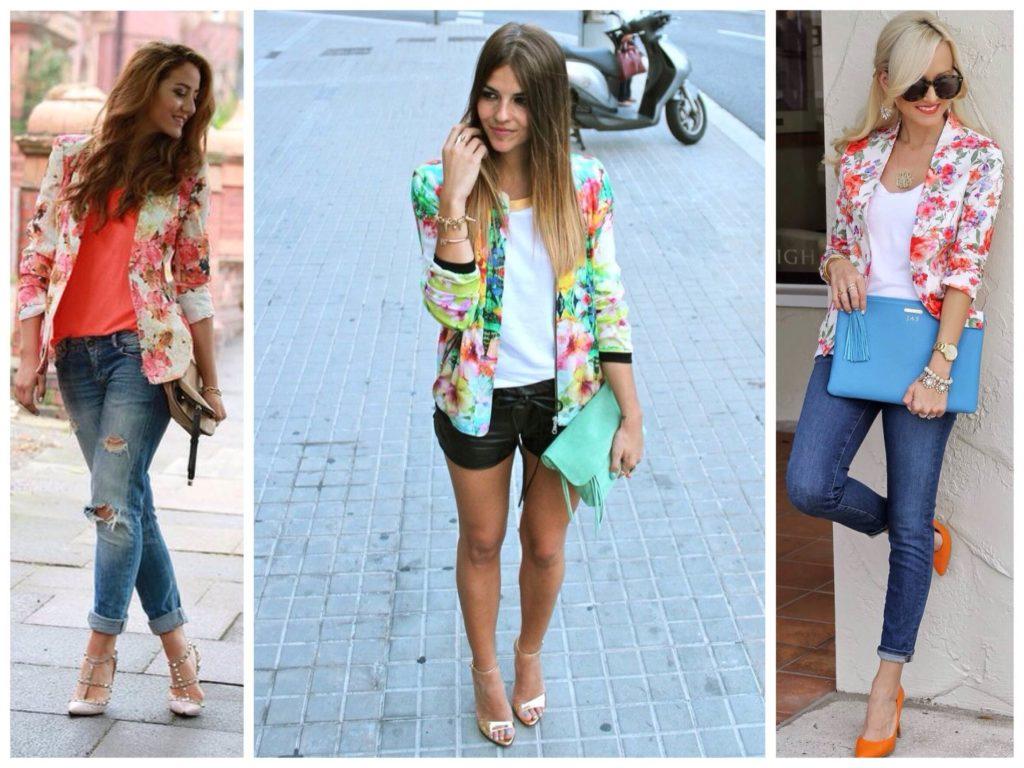 женские пиджаки: яркие в цветы