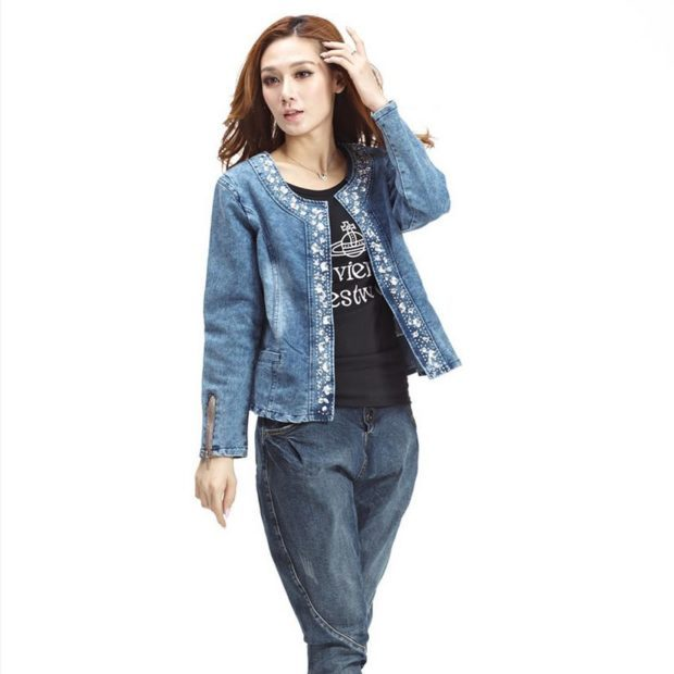 женский пиджак: из денима синий с принтом