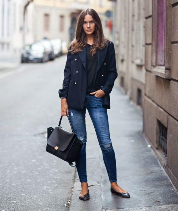 женский пиджак: из денима синий темный