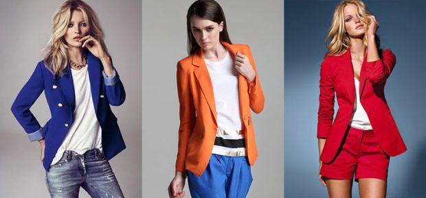 женский пиджак: классика синий оранжевый красный