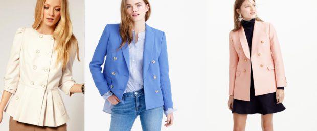 женский пиджак: классика белый голубой розовый
