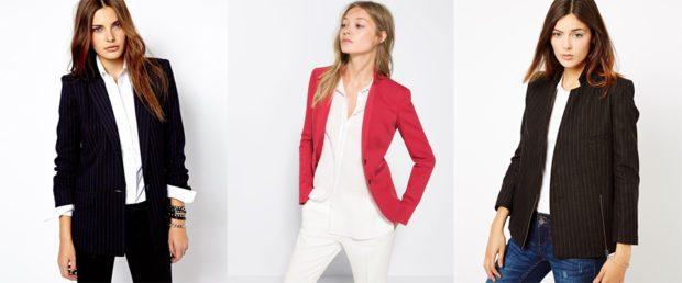 женский пиджак: классика черный красный черный