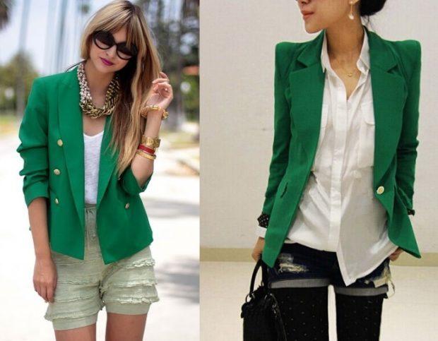 женский пиджак: классика зеленые