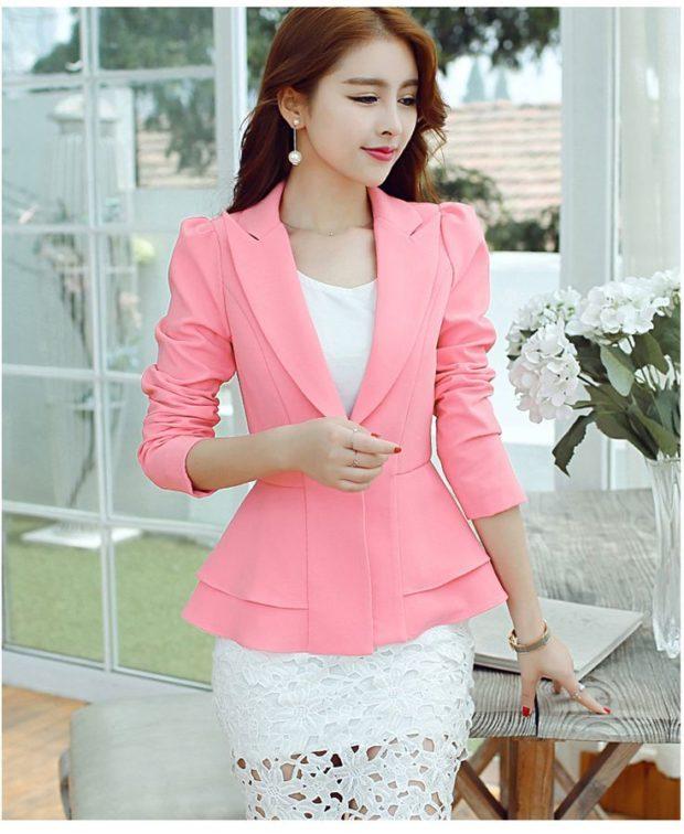женский пиджак: классика розовый