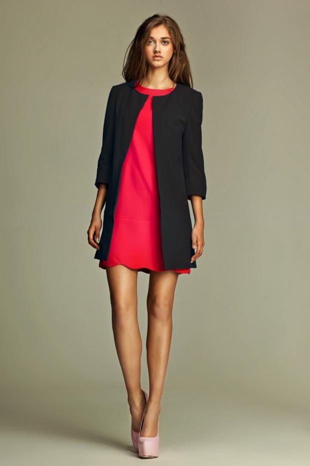 женский пиджак: длинный черный без пуговиц