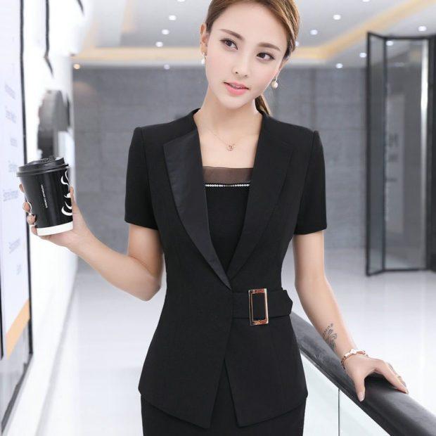 женский жакет: с поясом черный рукав короткий