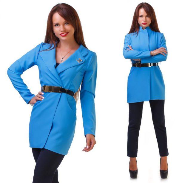 женский жакет: с поясом синий