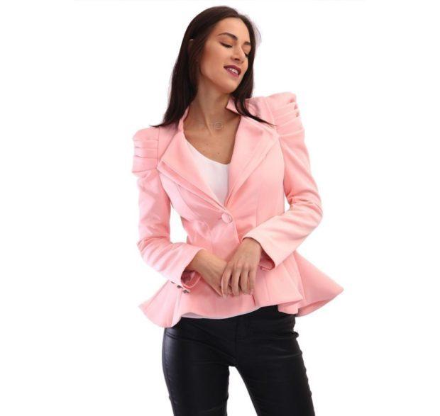 женские жакеты: пеплум розовый короткий