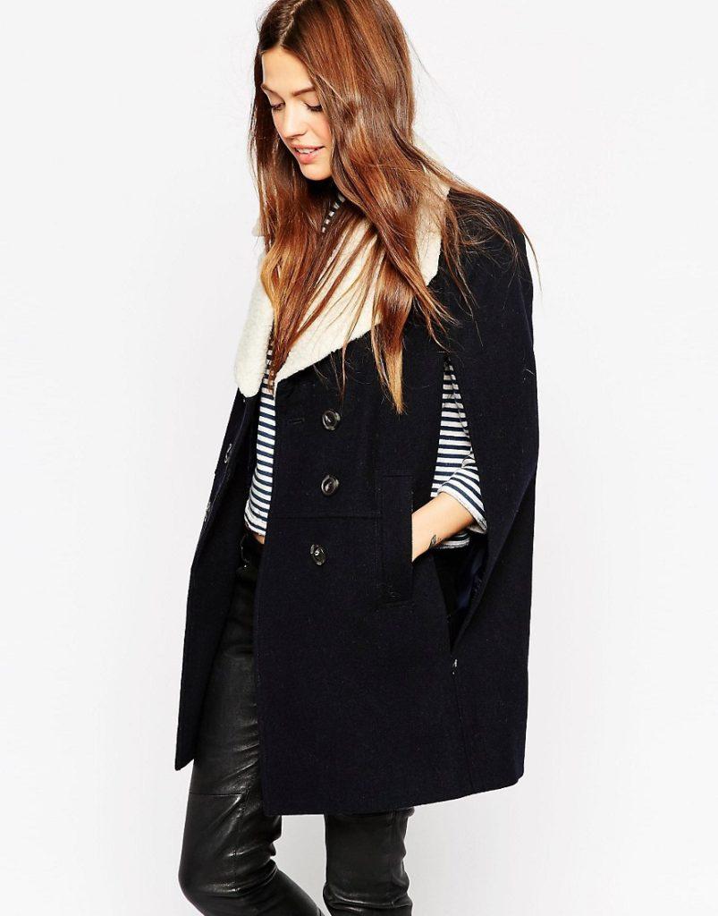 пиджак кейп черный с белым с пуговками