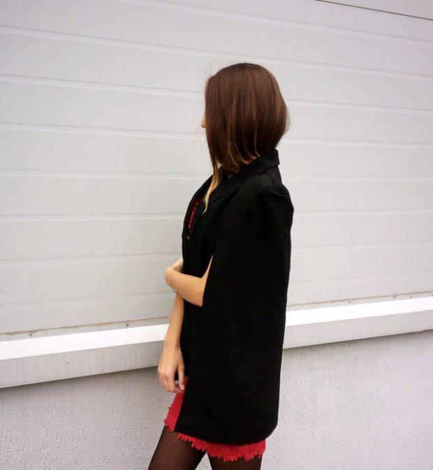 женские жакеты: кейп черный