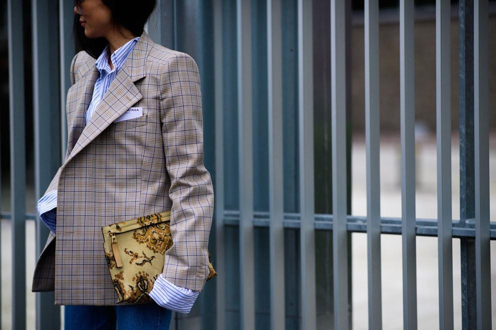 пиджаки оверсайз в клетку светлый