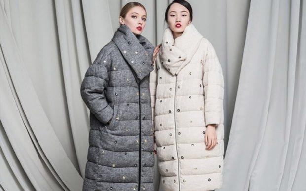 женские пуховики осень-зима 2018-2019: серый белый
