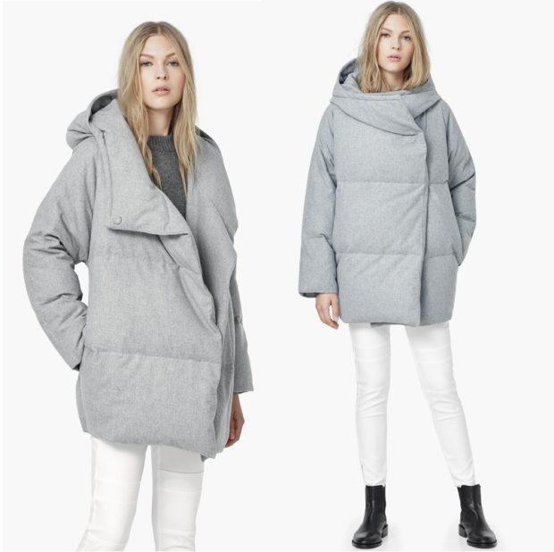 женские пуховики осень-зима 2018-2019: серый с асимметричным воротником и с капюшоном