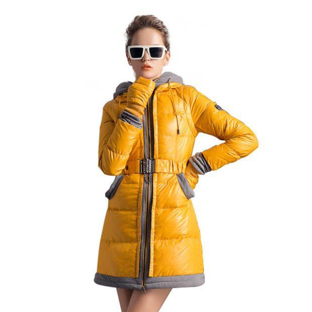 женские пуховики осень-зима: желтого цвета