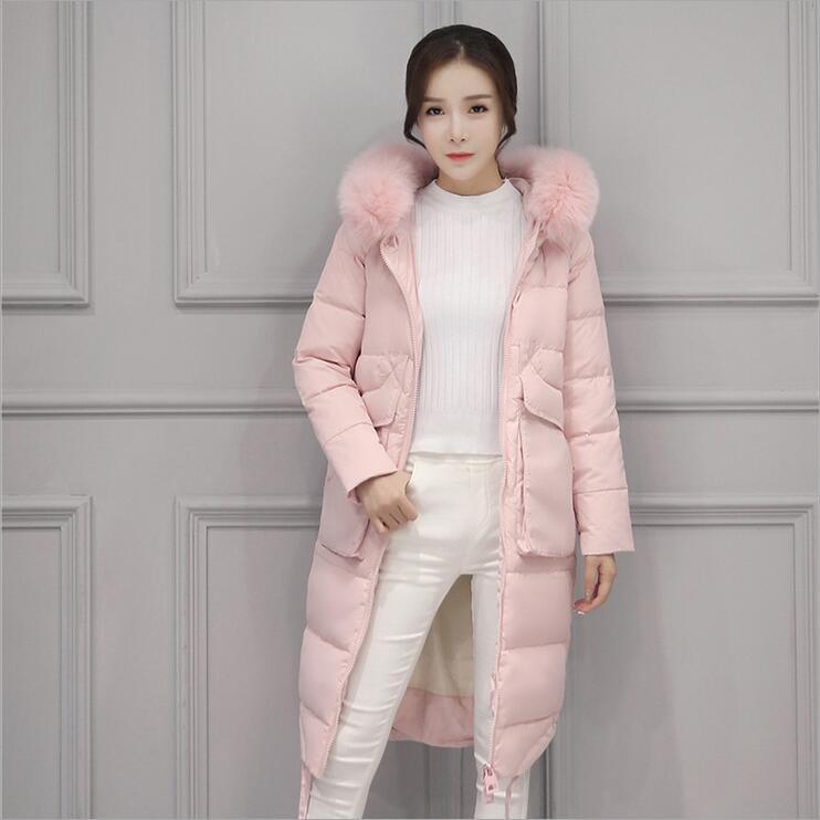 пуховик розовый с меховым воротником