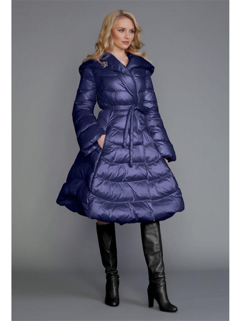 пуховик платье фиолетовый с поясом