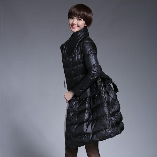 модный пуховик: широкий черного цвета