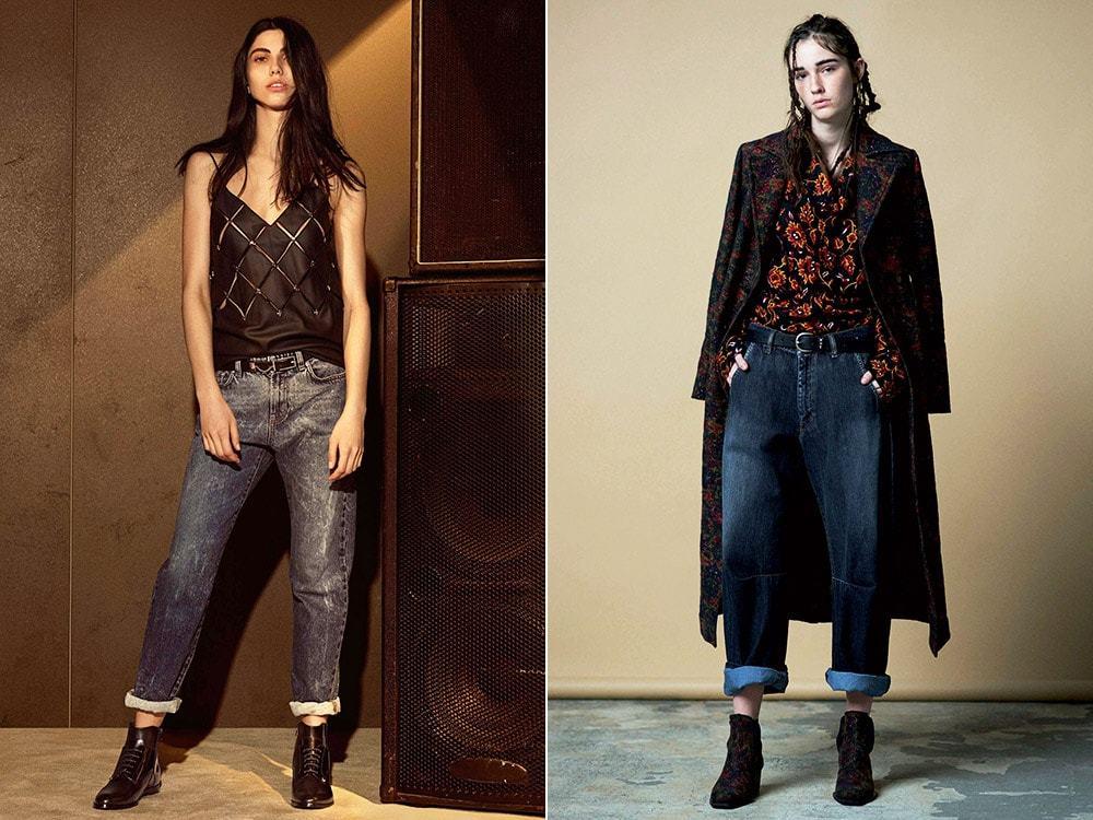 джинсы под майку черную под пальто