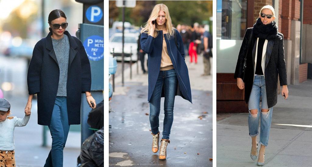 джинсы под пальто оверсайз синее черное классика