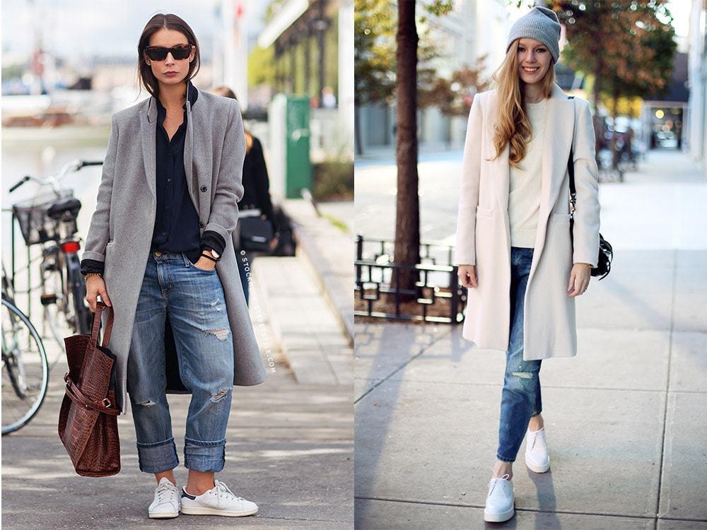 джинсы под пальто серое длинное белое