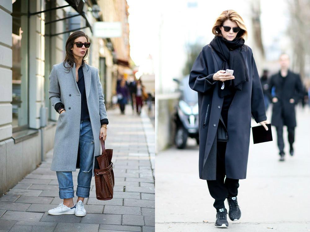 джинсы под пальто длинное серое черное
