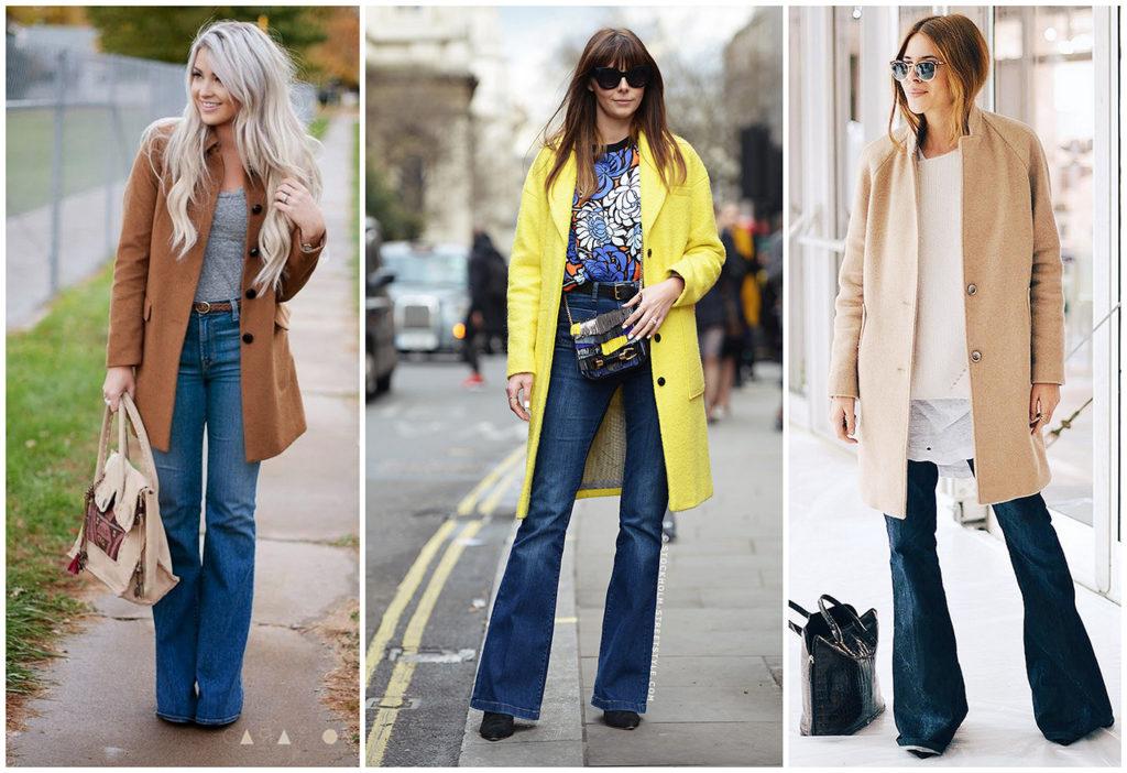 джинсы под пальто коричневое желтое бежевое