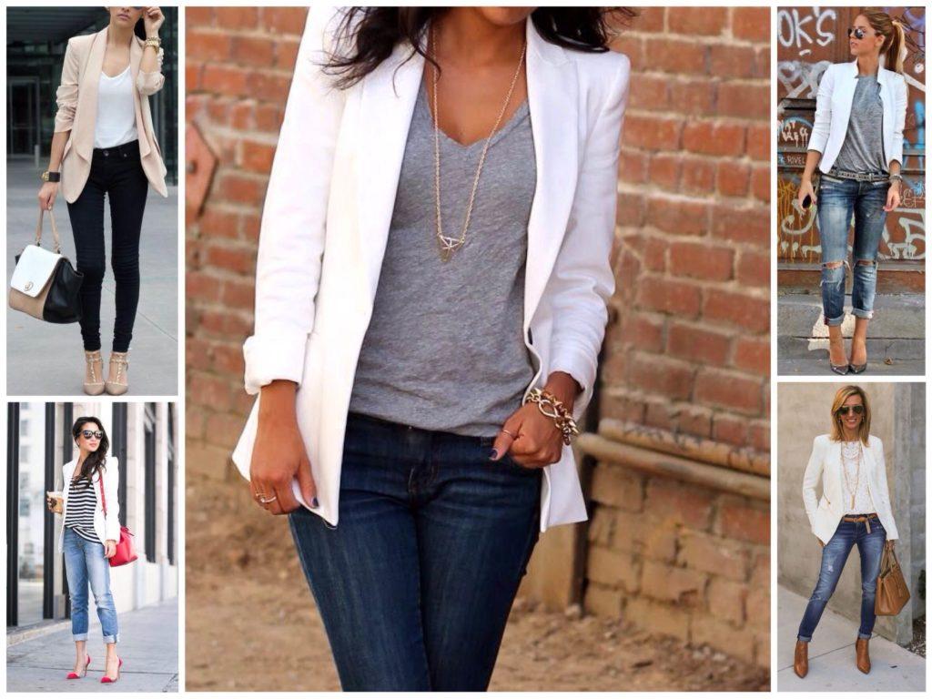 джинсы под пиджак белый