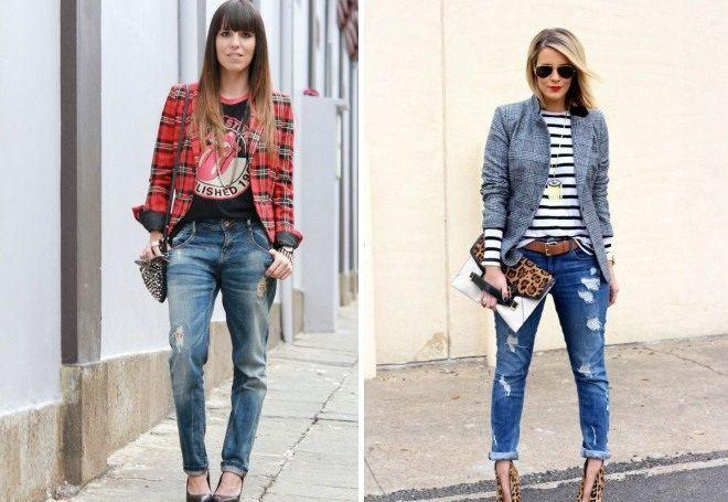 джинсы под пиджак в клетку под синий
