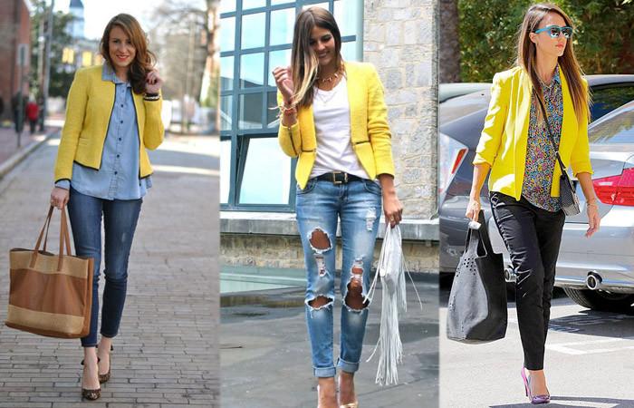 джинсы под пиджак желтый короткий